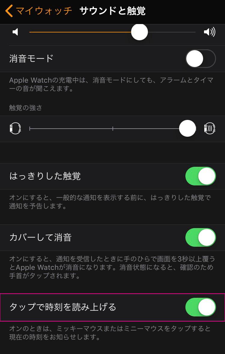 アップルウォッチ タップで時刻を読み上げる